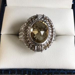 Sterling Silver Champagne & Ginger Quartz Ring